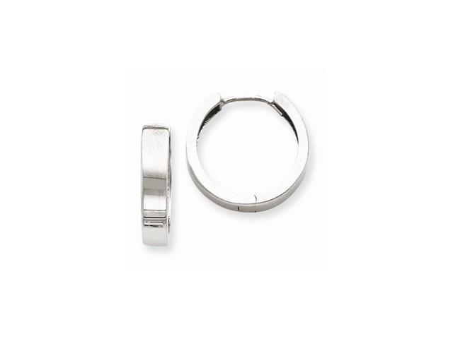 14k White Gold 0.6IN Hinged Hoop Earrings (0.6IN x 0.6IN)