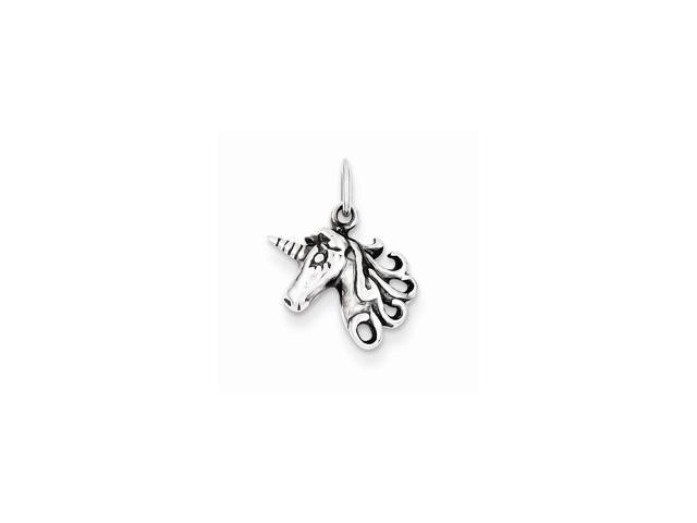 Sterling Silver Antiqued Unicorn Head Charm (0.6IN long x 0.4IN wide)