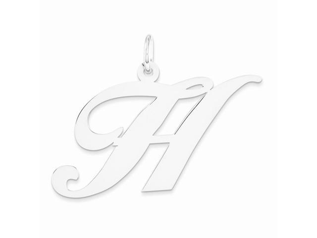 14k White Gold Large Fancy Script Initial H Charm (0.9IN long x 1IN wide)