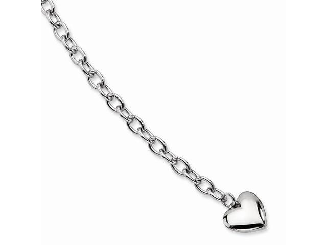 Stainless Steel Polished Open Link w/ Heart 8.5in Bracelet