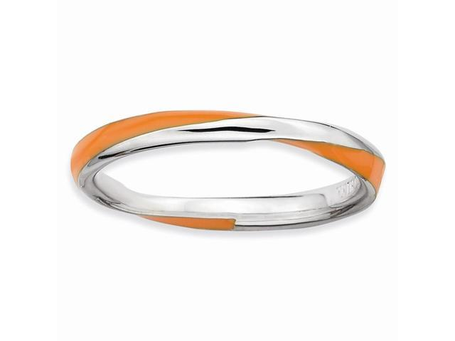 Sunburst 925 Sterling Silver Rhodium Plated Twisted Orange Enamel Stackable Ring