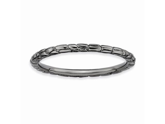 Rocking Cool Silver Stackable Black Twisted Ring