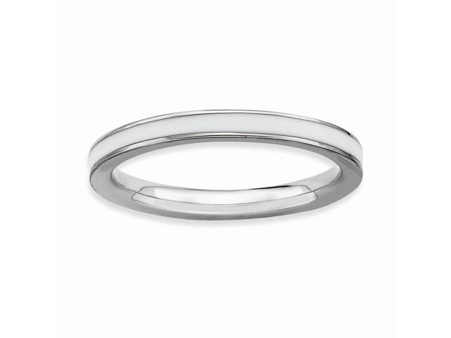 Lavishing 925 Sterling Silver Rhodium Plated Stackable White Enamel Ring Band