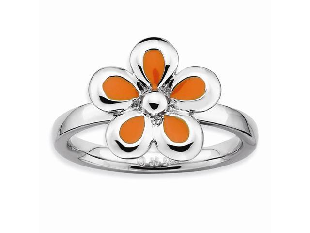 925 Sterling Silver Rhodium Plated Stackable Orange Enameled Flower Band