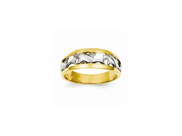 14k Yellow Gold With Rhodium Plated Dolphin Ring
