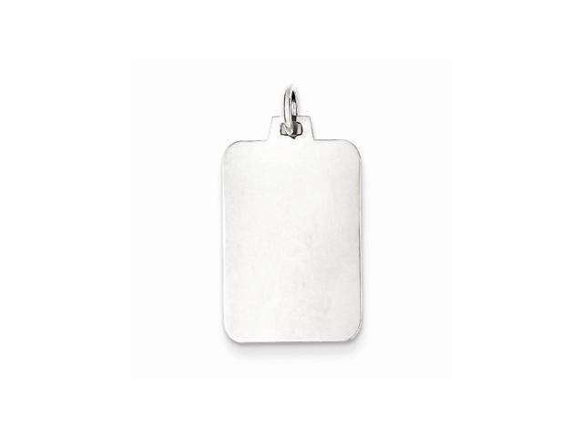 Sterling Silver Engravable Rectangle Disc Charm (0.9IN long x 0.5IN wide)