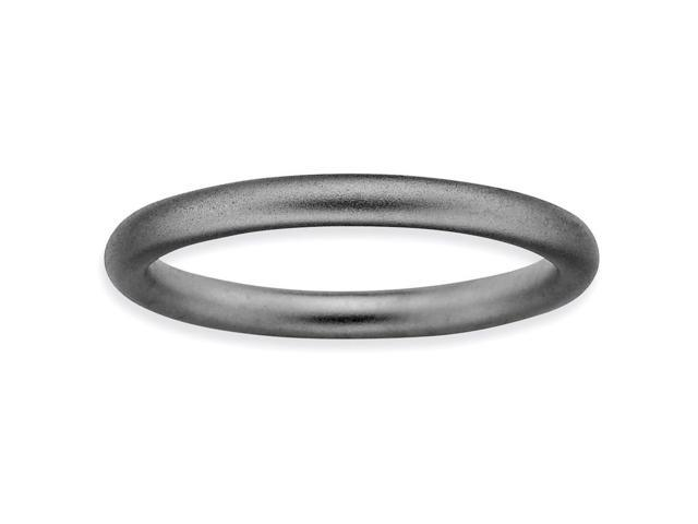 Forever Dazzle Silver Stackable Black Satin Ring