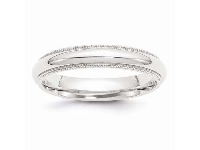 950 Platinum 4mm Comfort-Fit Milgrain Wedding Engravable Band