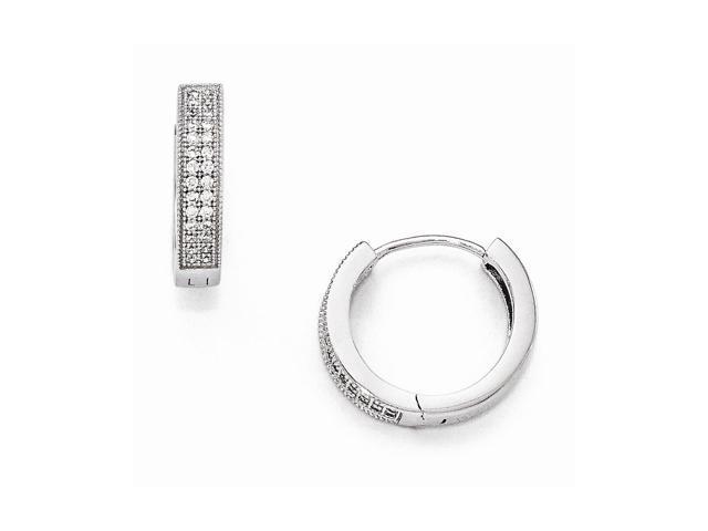 Sterling Silver Rhodium Plated & Synthetic CZ Brilliant Embers 0.3IN Hinged Hoop Earrings (0.4IN x 0.1IN )