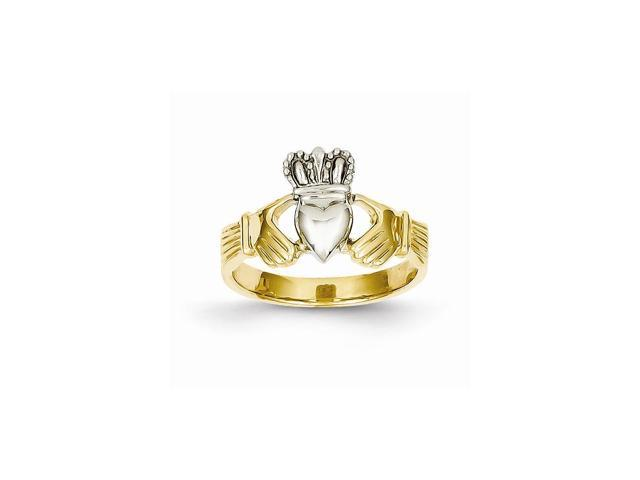 14k Two Tone Gold Polished Claddagh Ring