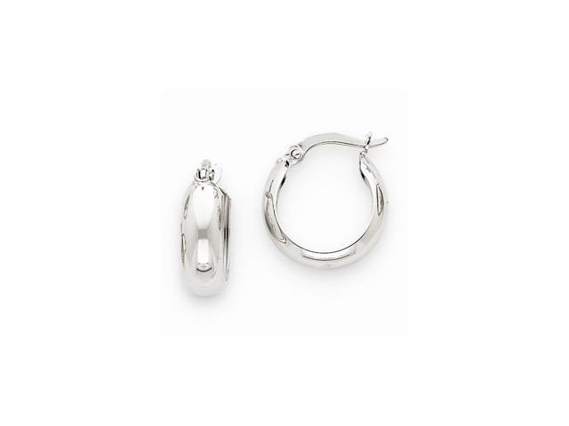 14k White Gold 4mm Round Hoop Earrings (10MM Long x 4.75MM Wide)