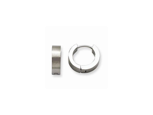 Stainless Steel Satin Round 0.3IN Hinged Hoop Earrings (0.3IN x 0.1IN )