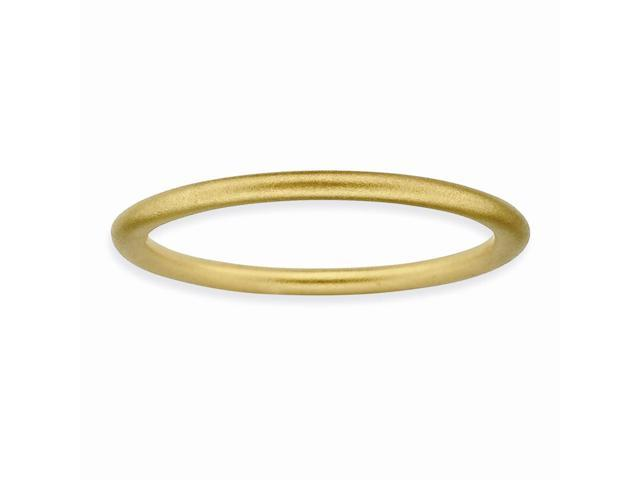 Elegant Silver Stackable 18k Gold-Plated Satin Ring Band