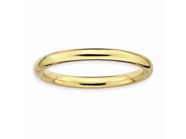 Forever Elegant Silver Stackable 18k Gold-Plated Ring Band