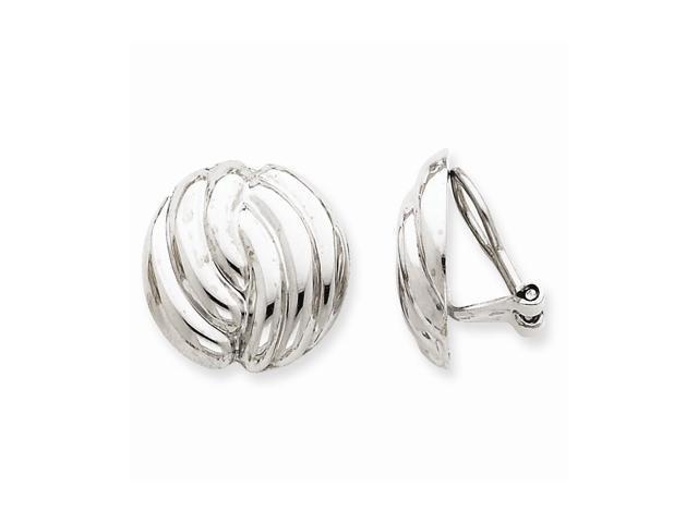 14k White Gold Omega Clip Non-pierced Earrings (0.7IN x 0.7IN )