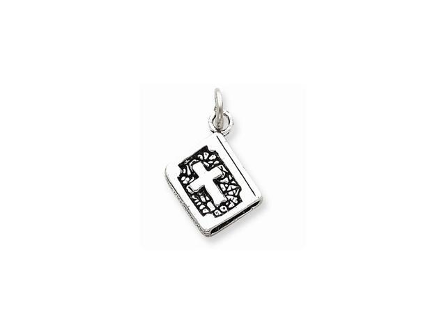 Sterling Silver Antiqued 3-D Bible Charm (0.8IN long x 0.4IN wide)