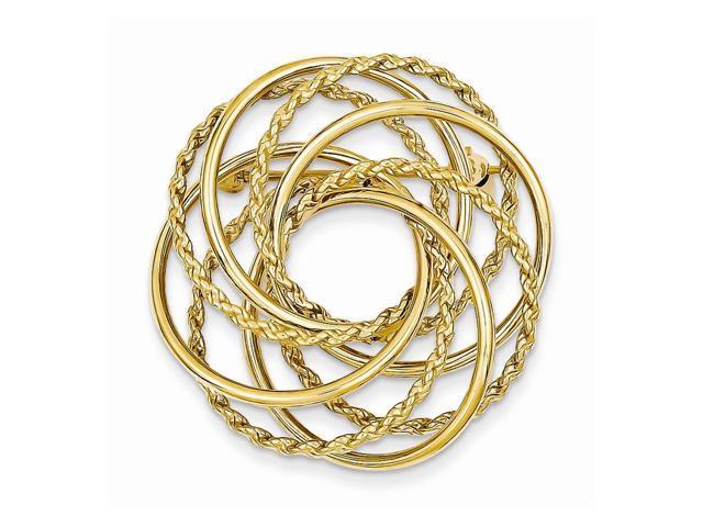 14k Yellow Gold Hollow Swirled Designer Pin