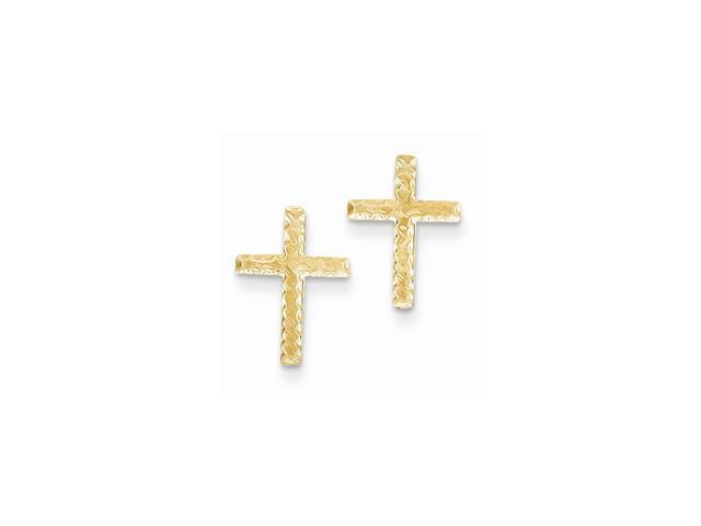 14k Yellow Gold Brushed Finish Cross Post Earrings (0.5IN x 0.3IN )