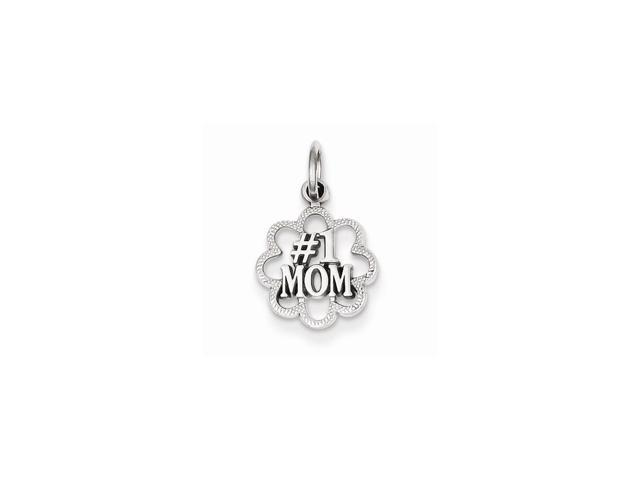 14k White Gold Antiqued #1 Mom Pendant
