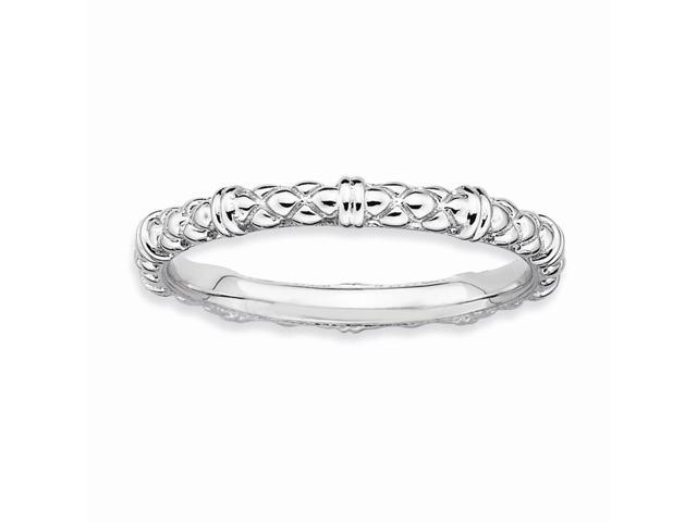 Always Fun 925 Sterling Silver Stackable Rhodium Plated Cable Ring