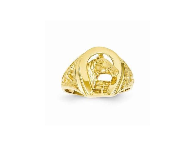 14k Yellow Gold Polished Horseshoe with Horse in Center Ring