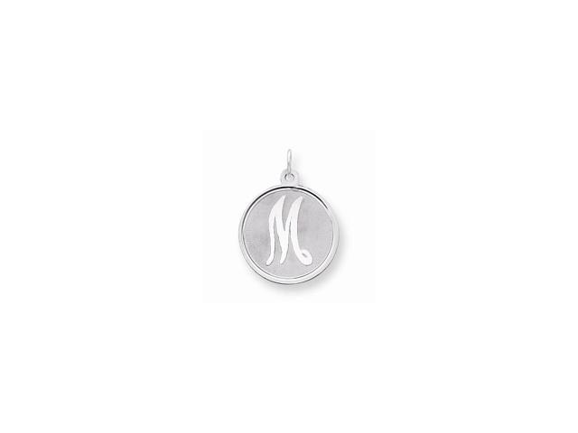 Sterling Silver Engravable Brocaded Initial M Charm (1.1IN long x 0.8IN wide)