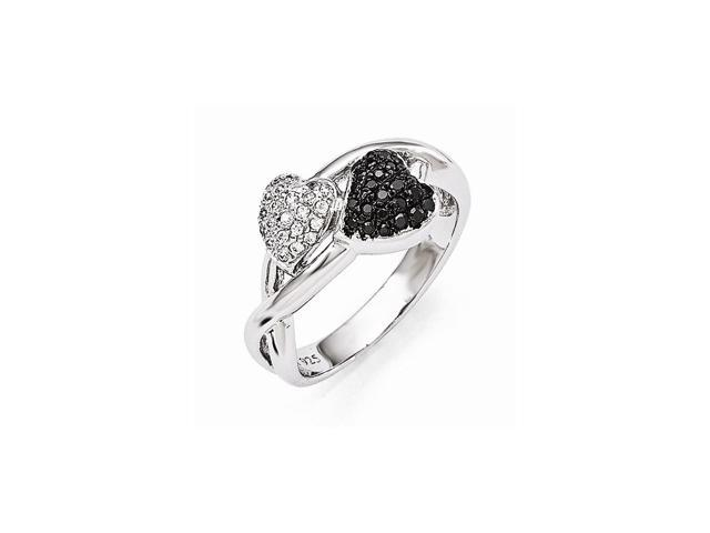 Sterling Silver Rhodium Plated & Synthetic CZ Embers Hearts Ring
