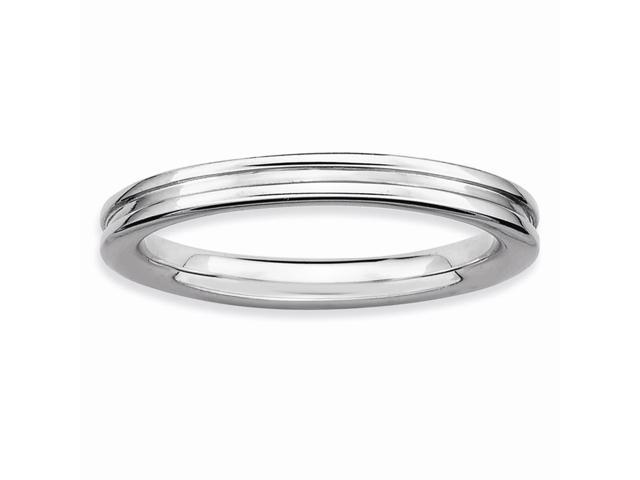 Astonishing 925 Sterling Silver Stackable Rhodium Plated Grooved Ring