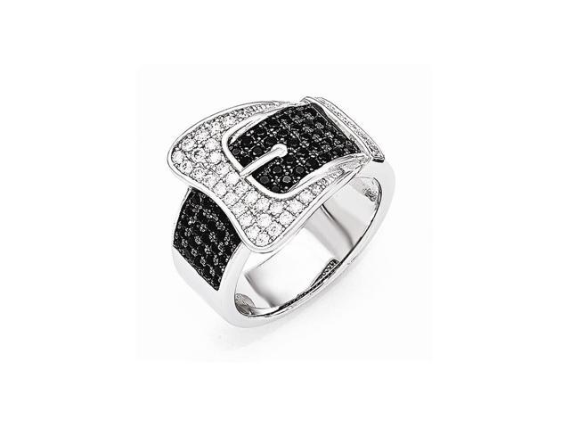 Sterling Silver Rhodium Plated & Synthetic CZ Embers Buckle Ring
