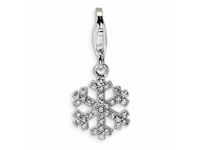 Sterling Silver Rhodium Plated Synthetic CZ Snowflake with Lobster Clasp Charm (0.5in)