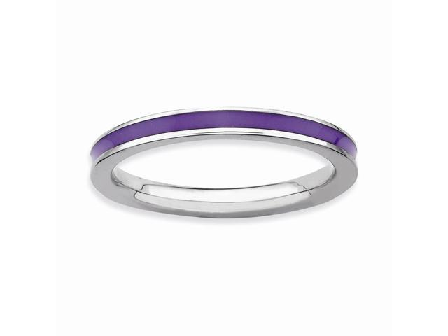 Sophisticated 925 Sterling Silver Rhodium Plated Stackable Purple Enamel Band