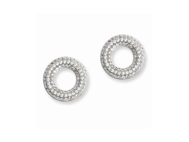 Sterling Silver & Synthetic CZ Embers Circle Post Earrings