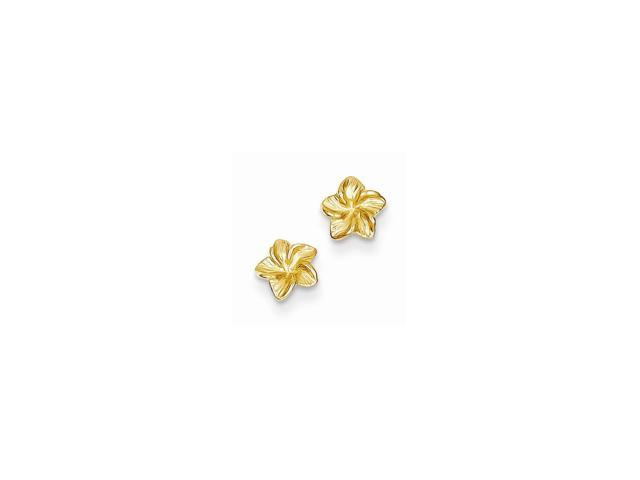 14k Yellow Gold Plumeria Flower Post Earrings (5MM)
