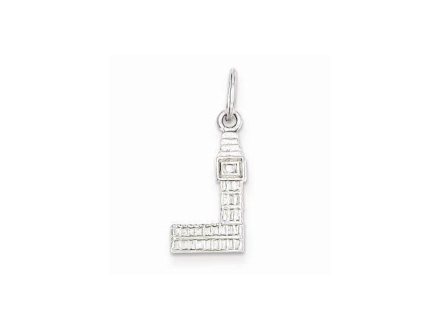 Sterling Silver Rhodium Plated Big Ben Charm (0.8IN long x 0.4IN wide)