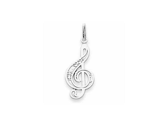 14k White Gold Musical Series Treble Cleft Pendant