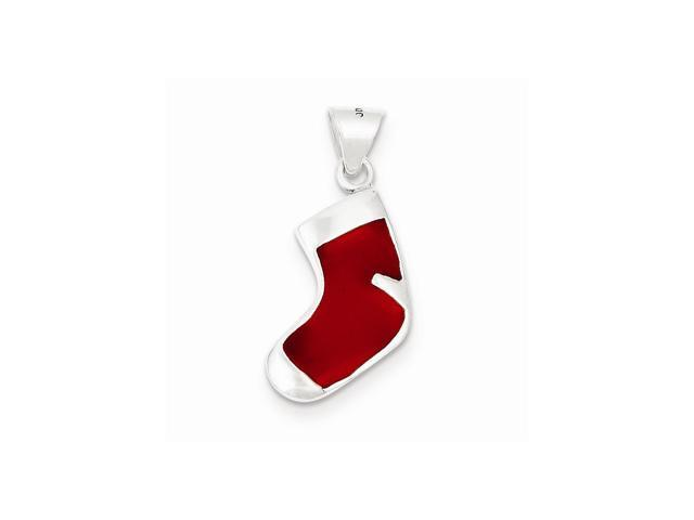 Sterling Silver Enameled Christmas Stocking Charm (1IN long x 0.4IN wide)