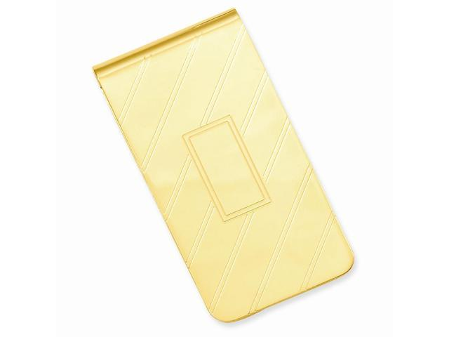 Stainless Steel Etched Diagonal Line Engravable Money Clip