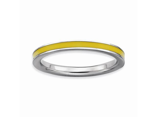 Magnificent 925 Sterling Silver Rhodium Plated Stackable Yellow Enamel Ring