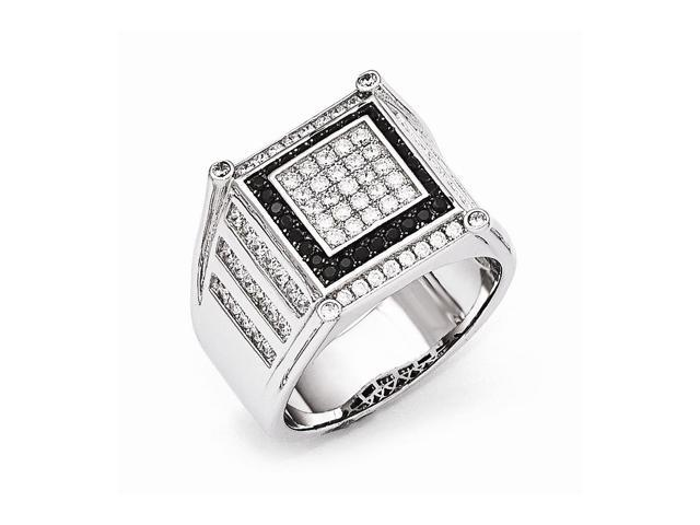 Sterling Silver Rhodium Plated & Synthetic CZ Embers Black & White Men's Ring