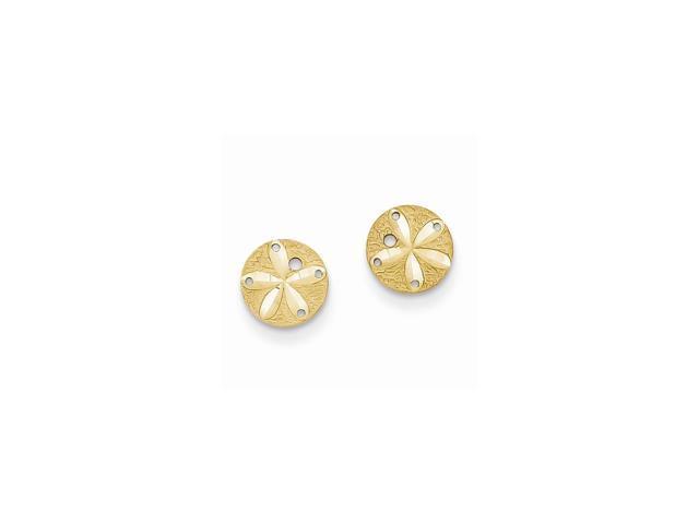 14k Yellow Gold Diamond-Cut Sand Dollar Post Earrings (8MM)