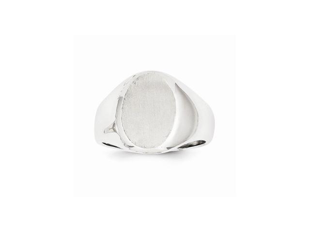 14k White Gold Engravable Signet Ring (14.6mm x 12.6mm face)