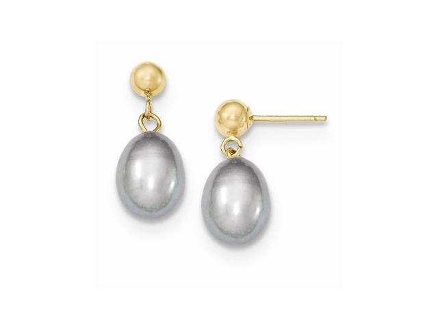14k Yellow Gold 0.6IN Long 7-7.5mm Grey Freshwater Cultured Pearl Dangle Earrings