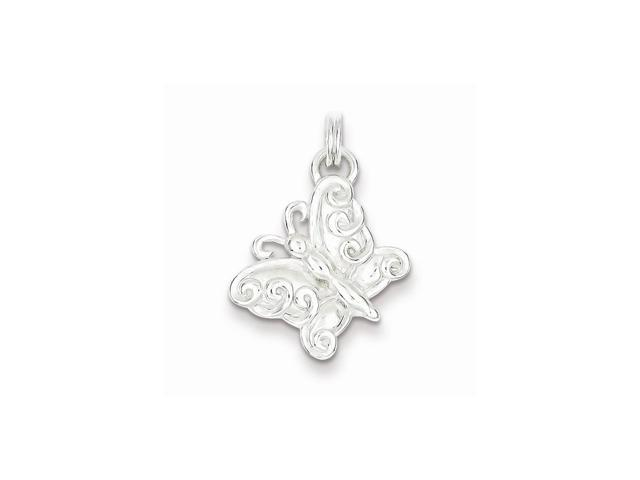 Sterling Silver Polished Butterfly Charm (0.9IN long x 0.7IN wide)