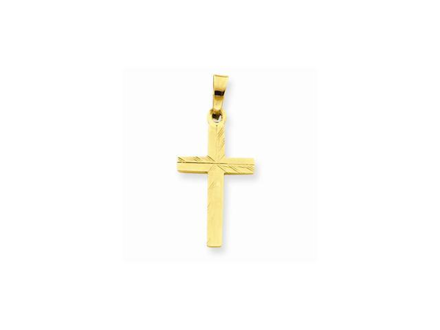 14k Yellow Gold D/C Small Hollow Cross Pendant
