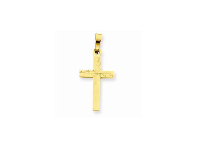 14k Yellow Gold D/C Small Hollow Cross Pendant