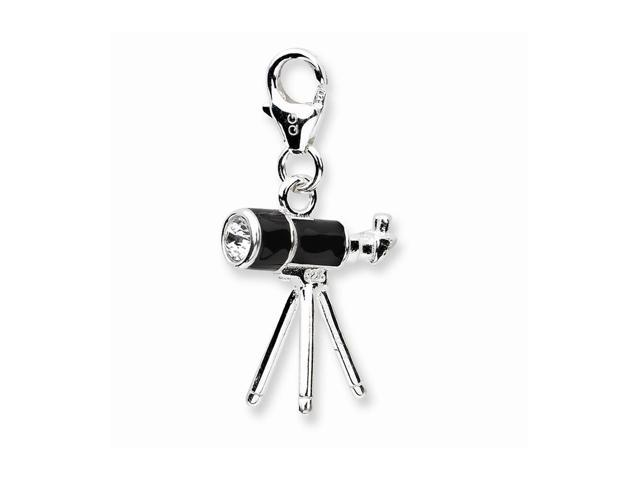 Sterling Silver Rhodium Plated 3-D Enameled Telescopewith Lobster Clasp Charm (0.6in)