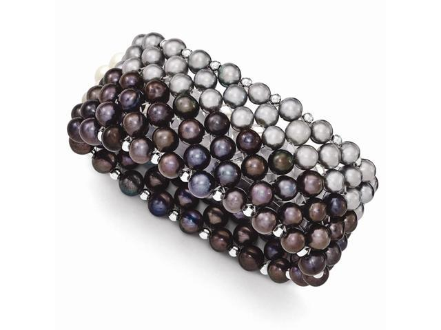 Sterling Silver Black/Grey 6-7mm Freshwater Cultured Pearl Potato Pearl Stretch Bracelet