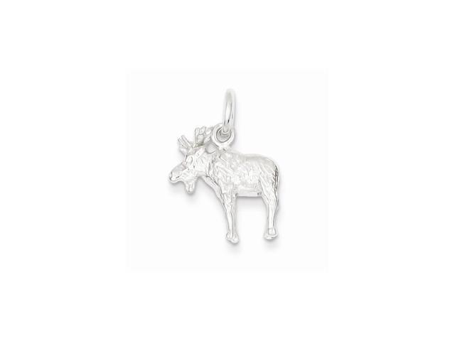 Sterling Silver Moose Charm (0.7in)