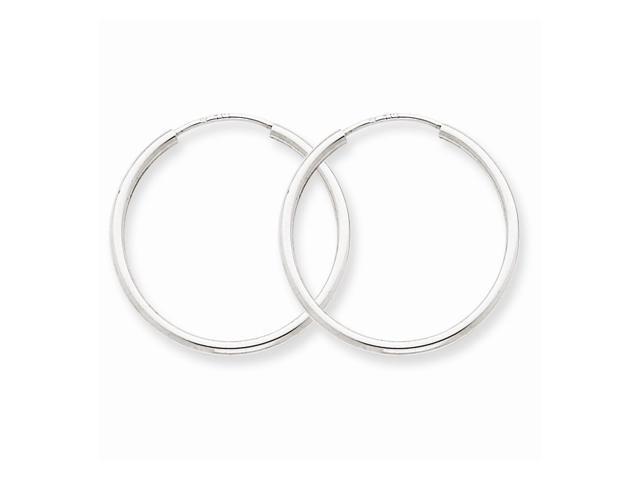 14k White Gold 1.5mm Polished Endless Hoop Earrings. 23mm Diameter.