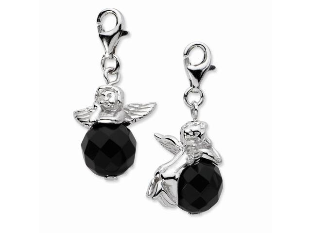 Sterling Silver Rhodium Plated Click-on Polished Angel with Moveable Black Onyx Stone Charm (0.7in)